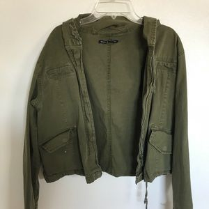 Brandy Melville cropped army green jacket